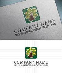 绿色森林树林LOGO标志设计 AI