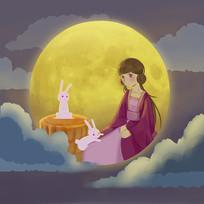 手绘嫦娥月兔月饼月亮中秋节月圆插画