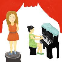 手绘卡通多才多艺的小女孩校园文化插画