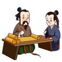 手绘卡通古人人物校园文化之好学插画