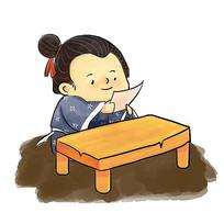手绘卡通古人人物校园文化之勤奋插画