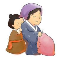 手绘卡通古人人物校园文化之孝顺插画