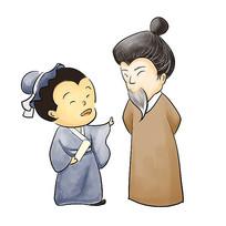 手绘卡通古人人物校园文化之尊师插画