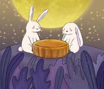 手绘月兔吃月饼中秋佳节月圆插画
