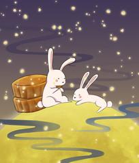 手绘月兔在月亮上吃月饼中秋佳节插画