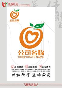 水果脐橙爱心LOGO标志设计