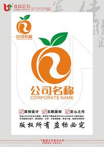 水果脐橙太极LOGO标志设计