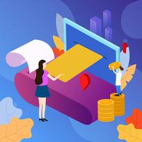 原创插画之金融商业投资