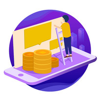 原创插画之金融手机理财