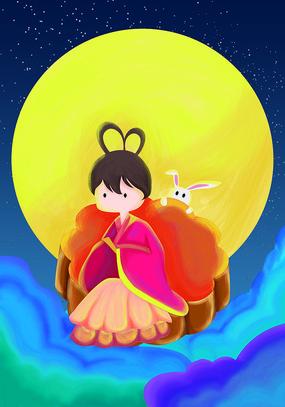 原创元素手绘七夕嫦娥月饼兔子元素