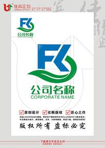 FR英文字母绿色农业标志设计