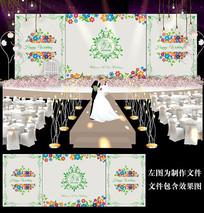 绿色田园风花卉婚礼舞台背景板设计