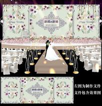 紫色花卉婚礼舞台背景板设计