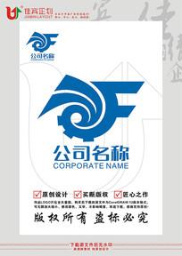 F英文字母齿轮机械标志logo设计