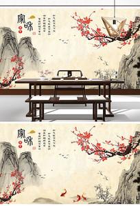 新中式家和富贵梅花山水电视背景墙