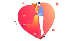 原创浪漫情人节创意插画情人节元素