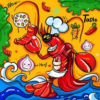 原创元素涂鸦小龙虾