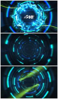 震撼蓝色光线穿梭开场片头视频模板