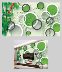 3D立体绿藤竹子电视背景墙