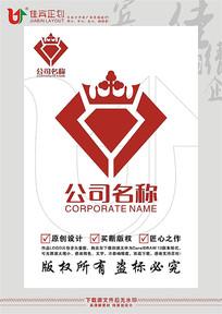H英文字母钻石皇冠标志设计