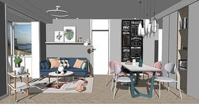 北欧小清新沙发茶几餐桌椅组合