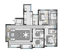 豪华精装四房两厅彩平图