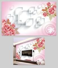 客厅3D立体玫瑰花背景墙装饰画