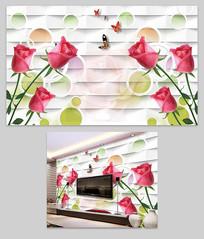 玫瑰3D立体电视背景墙装饰画