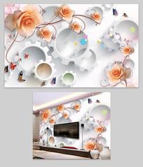 玫瑰花藤3D立体电视背景墙