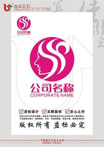 美容院女人侧脸LOGO商标标志设计