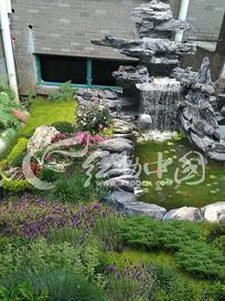 庭院英石假山水系效果图