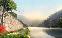 文化浮雕河岸挡墙