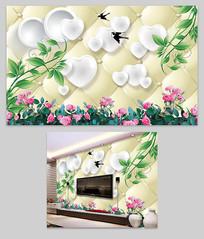 3D软包爱心花纹背景墙