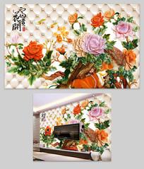 3D软包浮雕富贵牡丹电视背景墙