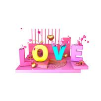 LOVE浪漫立体场景电商促销艺术字