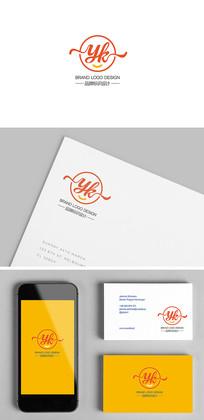 YK字母组合文艺标志设计