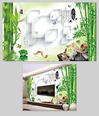 大气中国风3D立体圈圈壁画电视背景墙