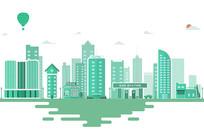 几何微扁平插画城市素材