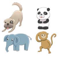 原创卡通可爱狗熊猫大象猴子动物插画