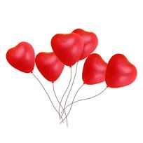 手绘红色爱心情人节元素
