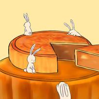 手绘月兔吃月饼中秋节插画