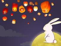手绘月兔孔明灯中秋节赏月思念家乡插画
