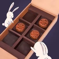 手绘月兔兔子月饼中秋节插画