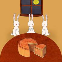 手绘月兔中秋节团聚吃月饼赏月插画