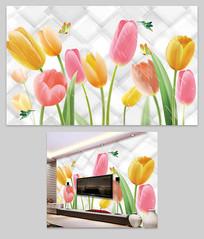 现代时尚简约花卉花朵电视背景墙