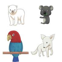 原创卡通可爱白熊考拉鹦鹉白狐狐狸动物插画