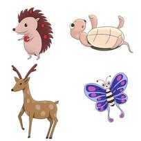 原创卡通可爱刺猬乌龟鹿蝴蝶动物插画