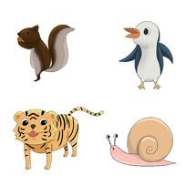 原创卡通可爱松鼠企鹅老虎蜗牛动物插画