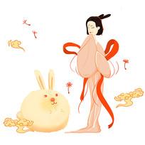 原创手绘嫦娥月兔祥云中秋节插画
