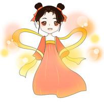 原创手绘卡通嫦娥星光闪耀中秋节插画